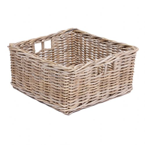Low Square Basket with Hole Handles in Kooboo Grey